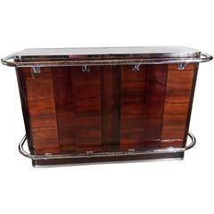 Art Deco Bar in Mahogany with Nickel Accents and Mirrored Top