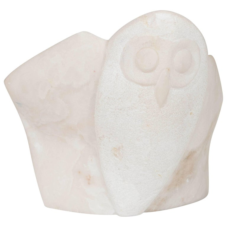 Owl Sculpture in Carved Marble, Signed and Dated For Sale