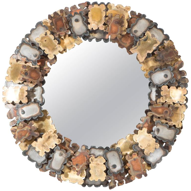 Round Brutalist Wall Mirror with Mixed Metal Frame in the Style of Silas Seandel For Sale