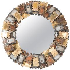 Round Brutalist Wall Mirror with Mixed Metal Frame in the Style of Silas Seandel
