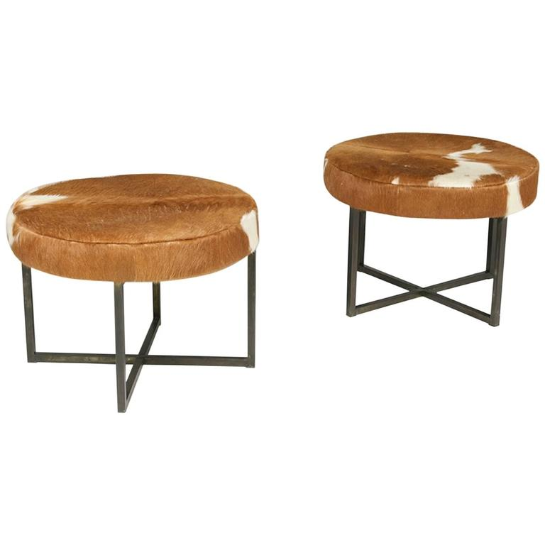 Pair of Circular Upholstered Cowhide Benches 1
