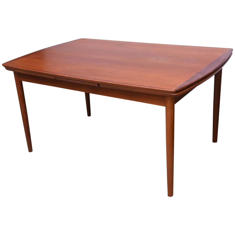 povl dinesen teak expandable dining table 1950s denmark saturday