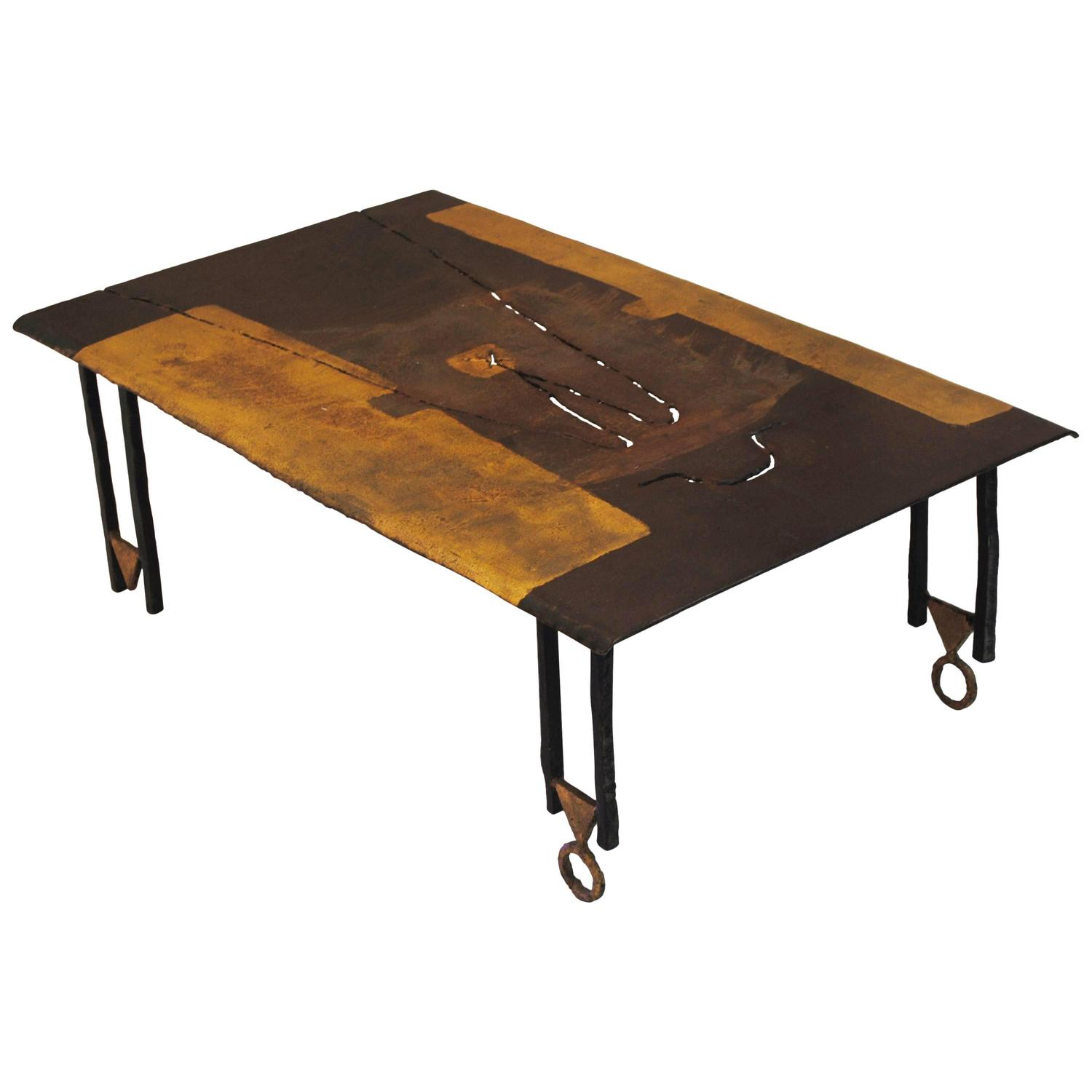 Brutalist Wrought Iron Coffee Table by Jean Jacques Argueyrolles