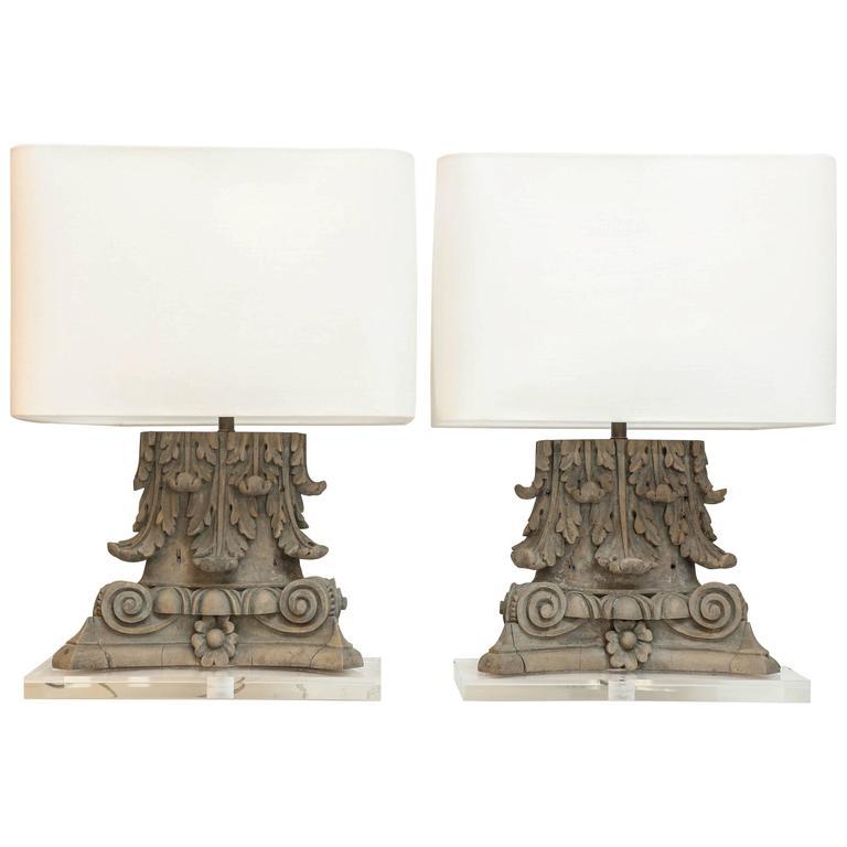 Pair of carved italian capitals as custom table lamps for sale at pair of carved italian capitals as custom table lamps for sale aloadofball Choice Image