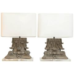 Pair of Carved Italian Capitals as Custom Table Lamps