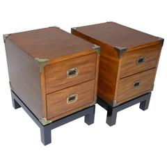 Pair of Mt Airy Walnut Campaign Style Nightstands
