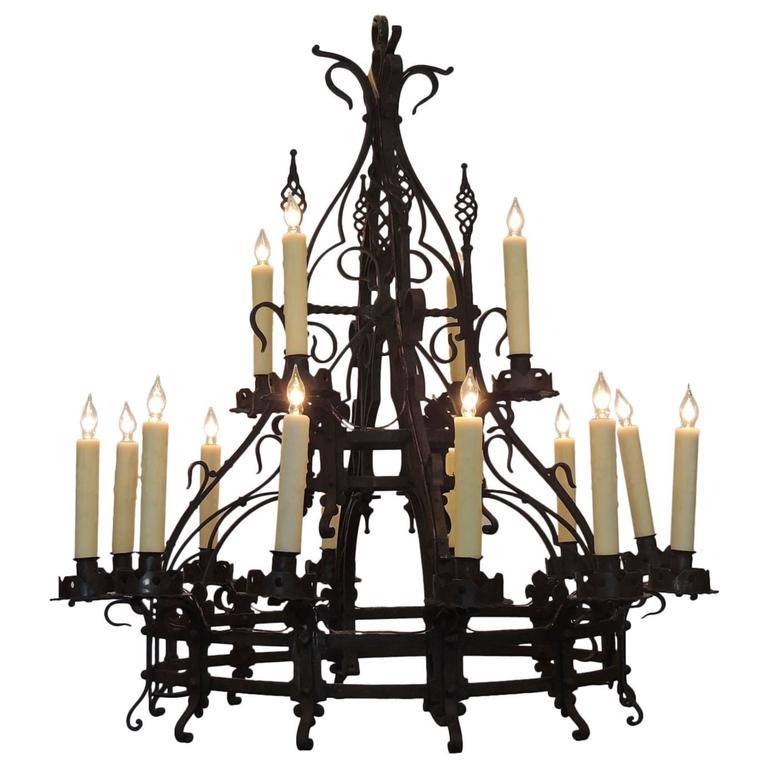 Late 19th c french gothic wrought iron chandelier for sale at 1stdibs late 19th c french gothic wrought iron chandelier for sale mozeypictures Choice Image