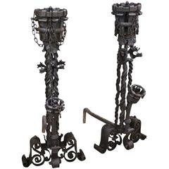 1800s Pair of Wrought Andirons with Scroll Detail Done in a Samuel Yellin Style