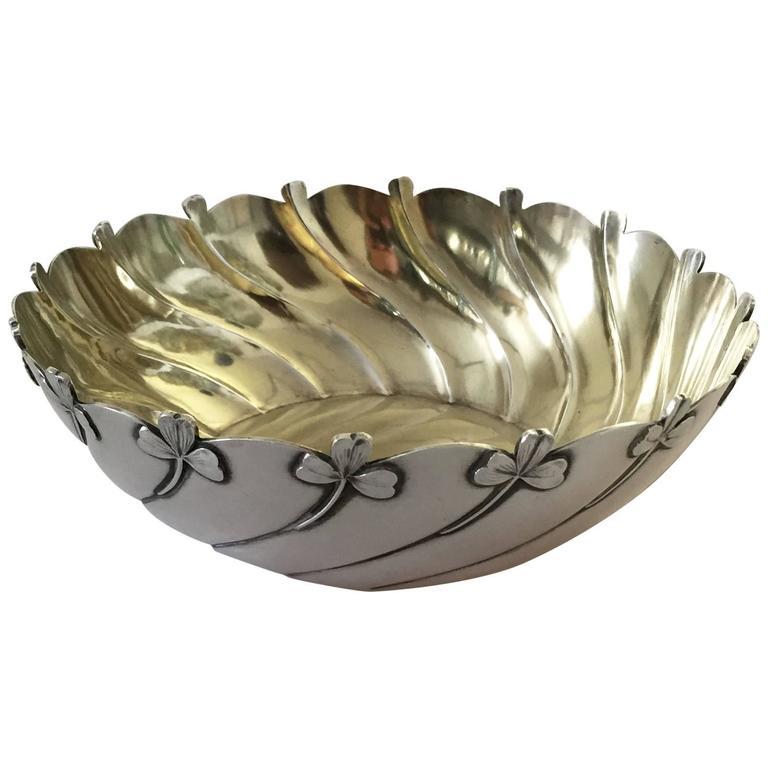 Anton Michelsen Sterling Silver Art Nouveau Decorative Bowl For Sale