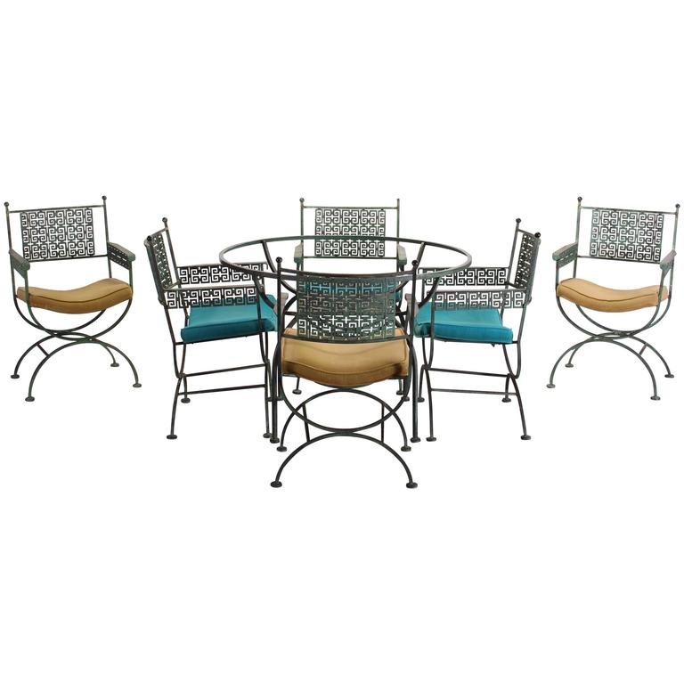 Seven Piece Wrought Iron Patio Set By Shaver Howard, 1960 For Sale