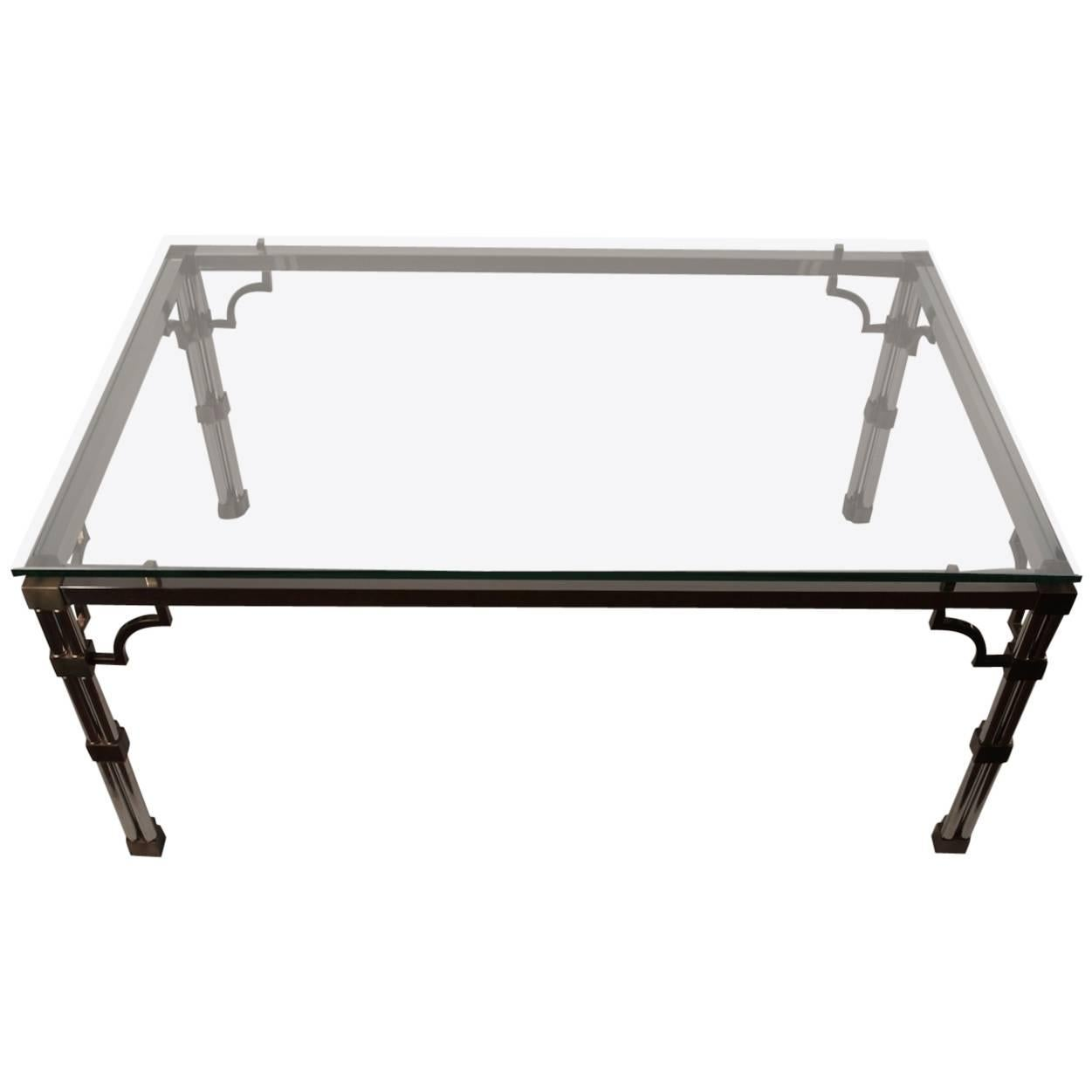 Chrome and Brass Glass-Top Dining Table