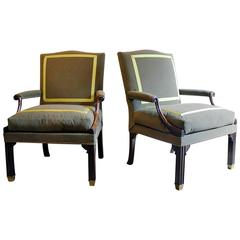 Pair of Chippendale Mahogany Library Armchairs