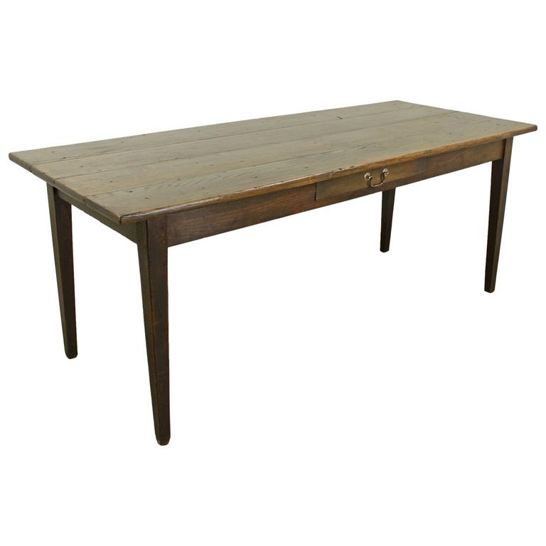 Antique French Dark Oak Farm Table For