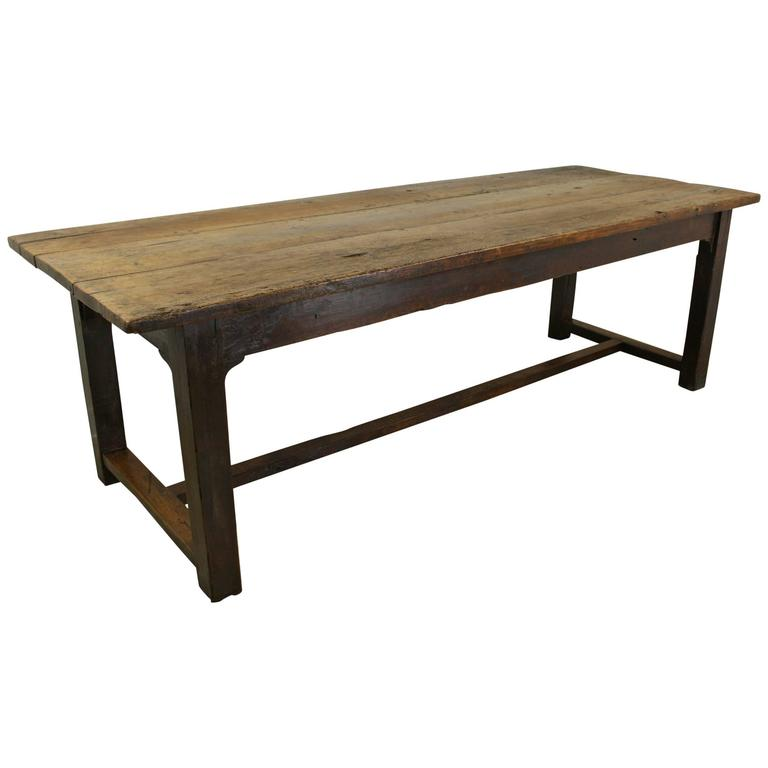 Furniture Long Narrow Dining Table Made Of Oak Wood In: Long Chunky Antique French Beechwood Refectory Table, Oak