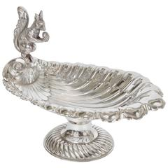 Silver Plate Squirrel Serving Dish C.1890