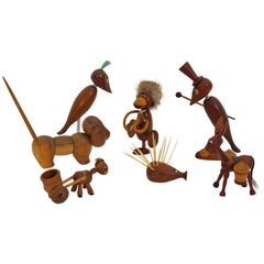 Scandinavian Modern  Teak Wood Vintage Selection of Seven Animals, 1960s Denmark