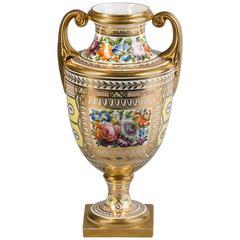 English Porcelain Yellow-Ground Urn, Coalport, circa 1820