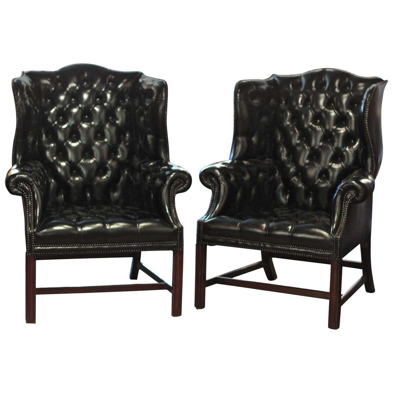 Pair of English Black Leather Wing Chairs at 1stdibs