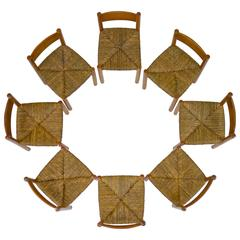 Set of Eight Meribel Side Chairs by Charlotte Perriand
