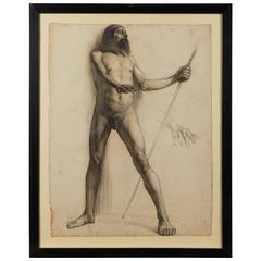 19th Century Italian Study of Male Nude