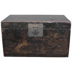 19th Century Chinese Trunk with Gilt Painting
