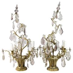 Pair of Louis XV Style Gilt Bronze and Crystal Girondole Candelabra Lamps