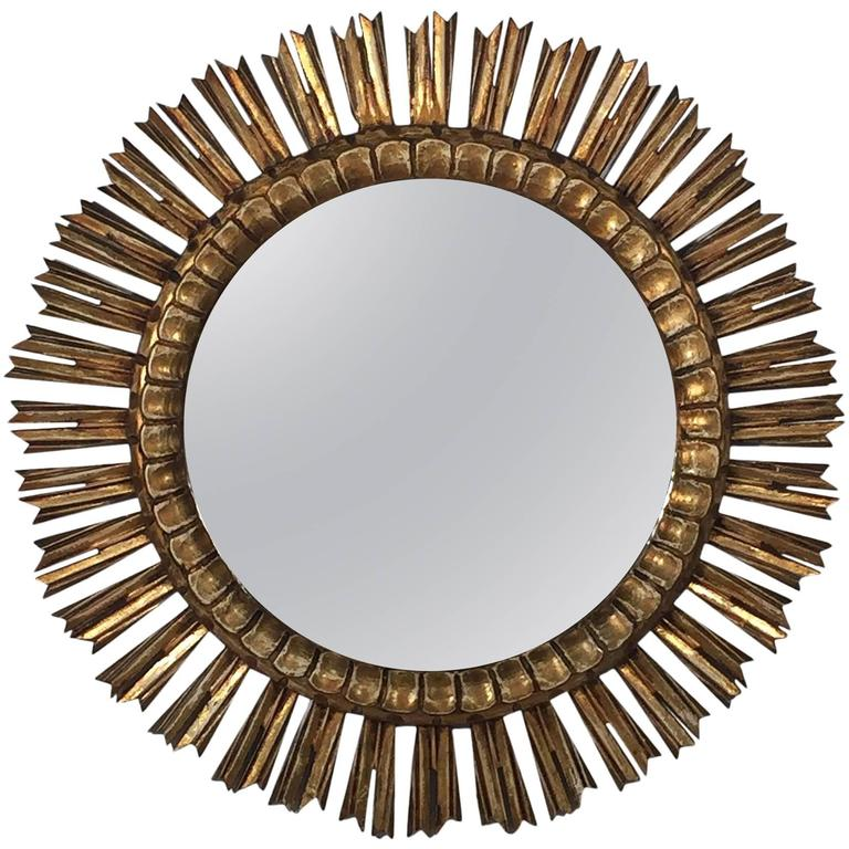 "French Gilt Sunburst or Starburst Mirror (Dia 25"") 1"