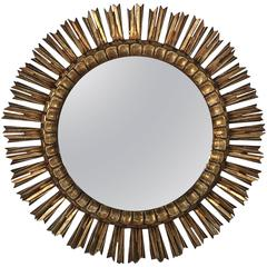 "French Gilt Sunburst or Starburst Mirror (Dia 25"")"