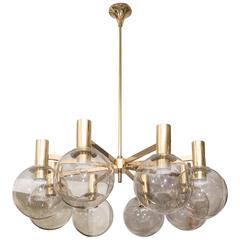 1970s Hans-Agne Jakobsson Smoked Globes and Brass Light Fixture