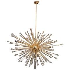 Custom Teardrop Oval Sputnik Chandelier in Brass
