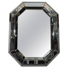 Beveled Gray Glass Octagon Mirror