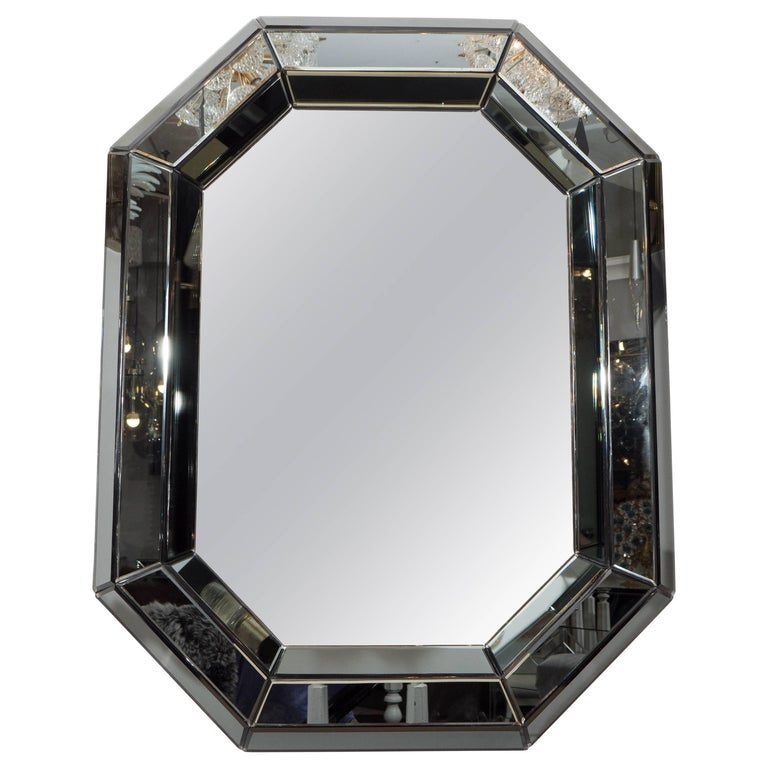 Beveled Gray Glass Octagon Mirror For Sale