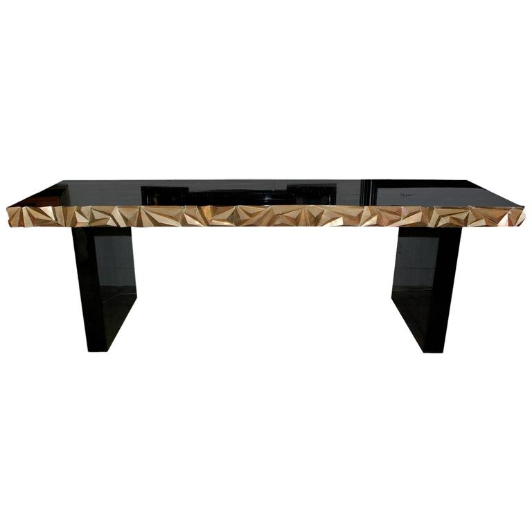 "Great ""Sculptural"" Brass and Black Lacquered Console Table"