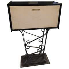 French Art Deco Parchment Dry Bar With Black Lacquered Iron Base