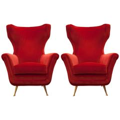 1960s Mid-Century Modern Red Italian Lounge Chairs in Velvet, Set of Two