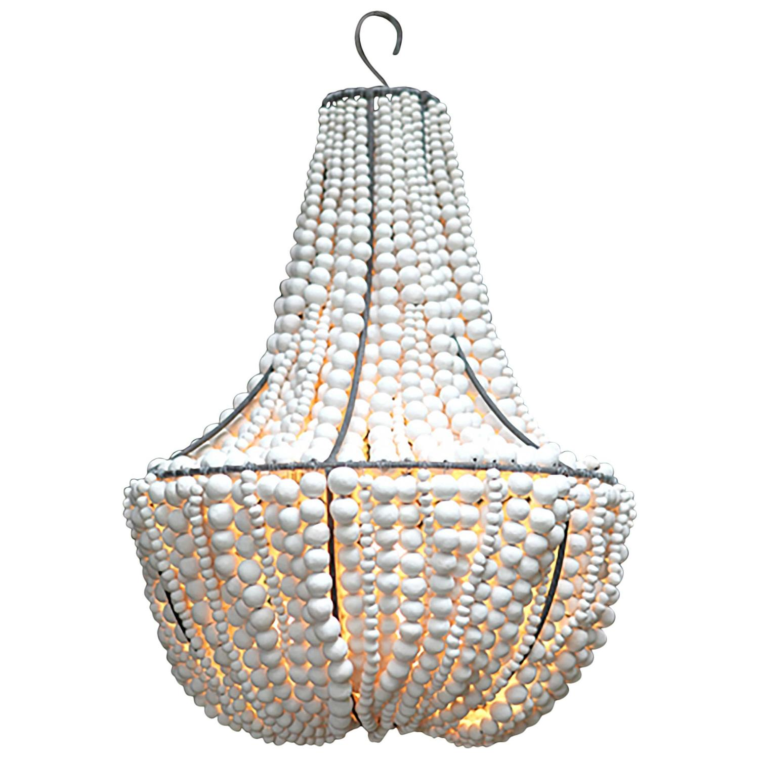clay beaded quot lim quot white chandelier for sale at 1stdibs