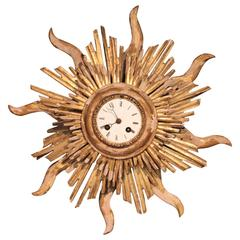 Late 18th or Early 19th Century Giltwood French Sunburst Clock