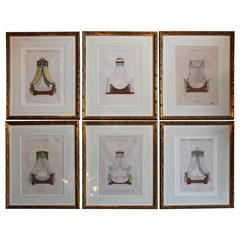Set of Six French Framed Hand-Colored Engravings of Beds or Lits, circa 1818