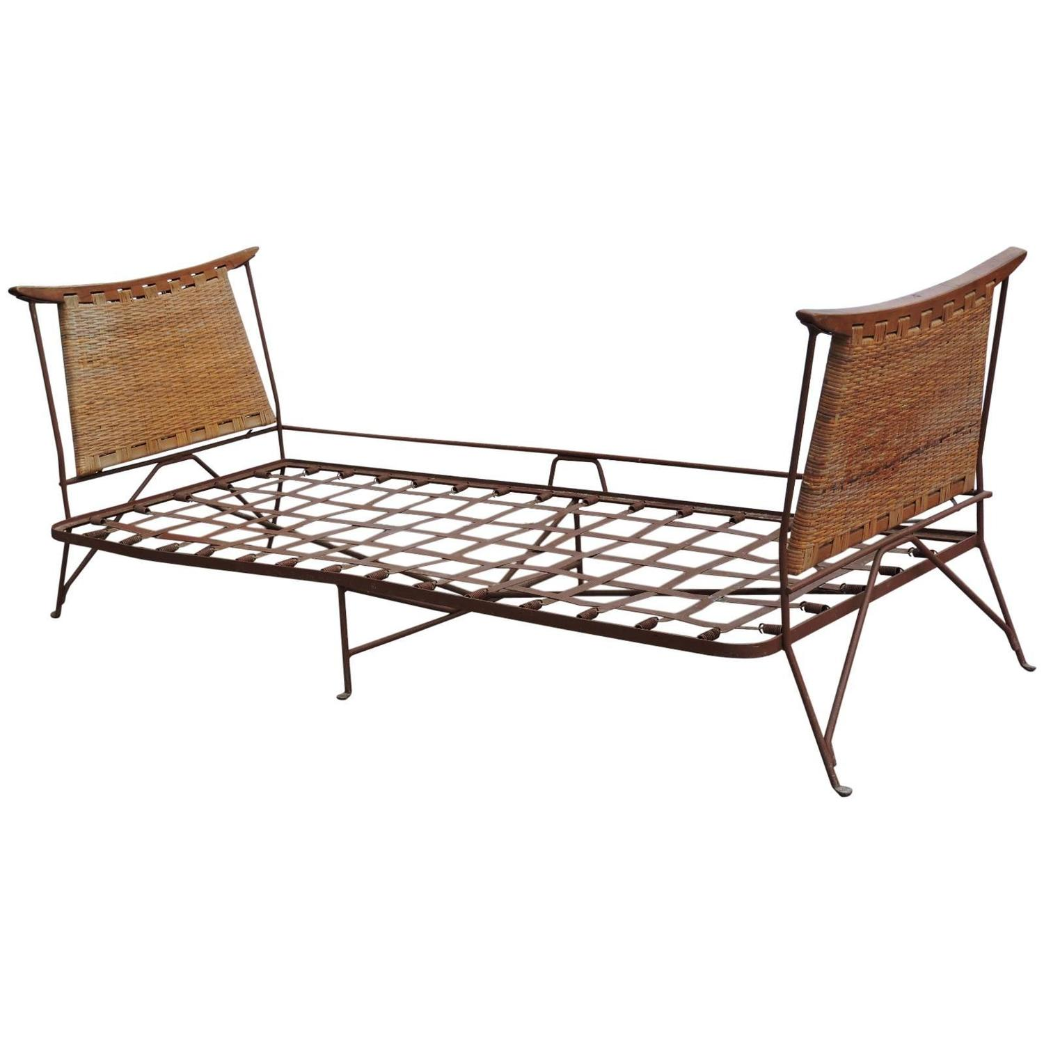Rare Modernist Iron And Cane Daybed Lounge At 1stdibs