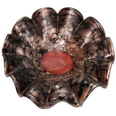 Murano Black, Gold and Red Glass Ballerina Bowl
