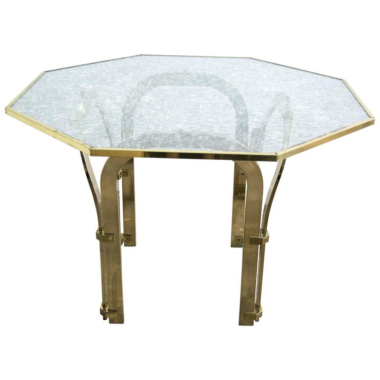 Octagonal Brass Dining Table With Custom Glass In The