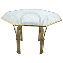 Octagonal Brass Dining Table with Custom Glass in the Style of Milo Baughman