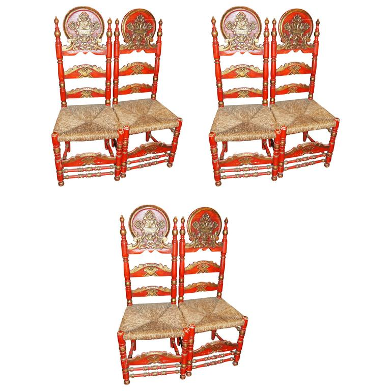 Set of Six Spanish Painted Chair