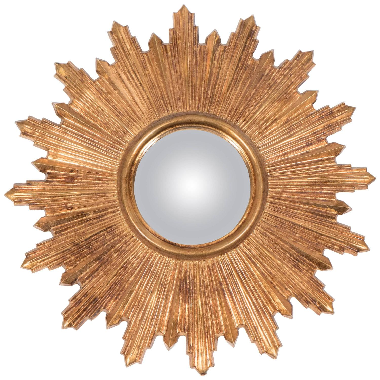 German midcentury giltwood sunburst mirror at 1stdibs for Sunburst mirror