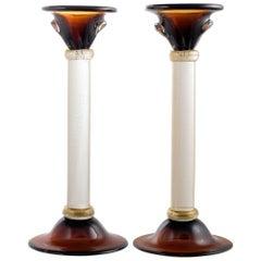 """Murano Amber and """"Avventurina"""" Glass Pair of Candlesticks"""