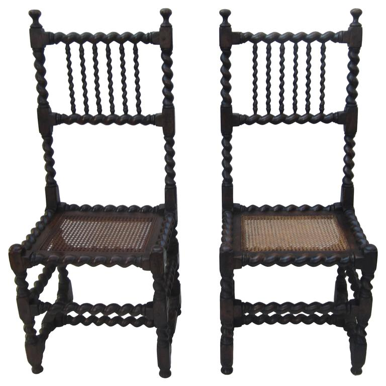 Pair Of Barley Twist Side Chairs For Sale At 1stdibs