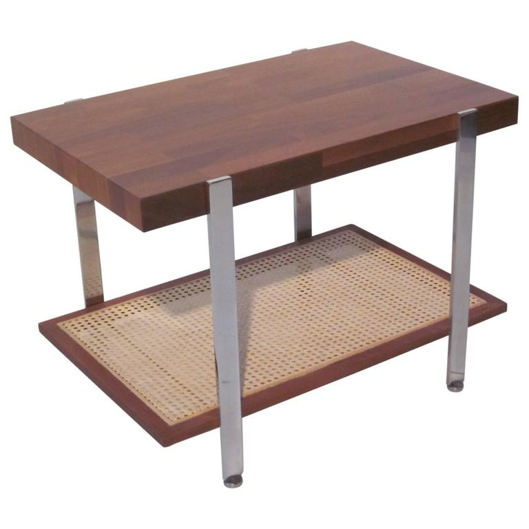 Milo Baughman Styled Walnut, Chrome and Caned Side Table  For Sale