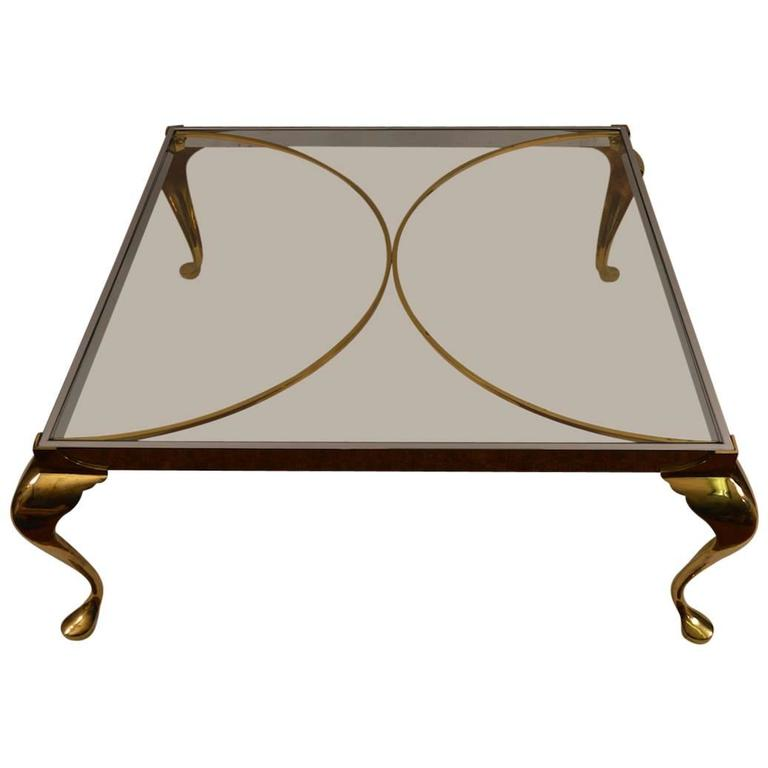 Hollywood Regency Brass and Chrome Coffee Table For Sale
