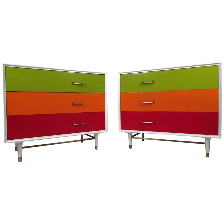 Pair Vintage Three-Drawer Dressers in the Style of George Nelson