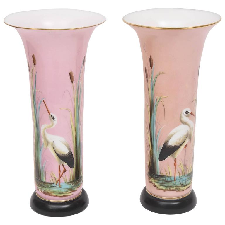 Pair 19th Century French Opaline Hand Painted Glass Vases Attributed Baccarat at 1stdibs